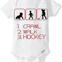 Crawl Walk Hockey - New Baby Gift: Gerber Onesuit brand bodysuit - for a new mom or dad who loves to watch or play Ice Hockey!