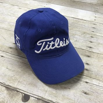 Titleist Golf 975 DCI Blue Flex Fit Cotton Golfing Hat Made in USA Mens Size M/L