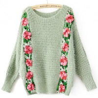 Round Neck Green acrylic bat sleeve pullover   style zz10080301 in Sweaters - Tops