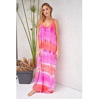 Tie Dye My World Pink Multi Racerback Maxi Dress