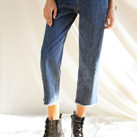 Loose Flare Crop Mom Jeans