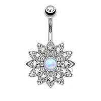 BodyJ4You Belly Button Ring Crystal Clear Jeweled Opal Flower Piercing Jewelry 14G