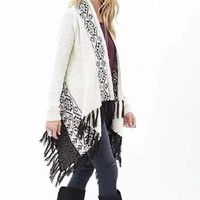 Geometric Print Fringed Long-Sleeve Knitted Cardigan