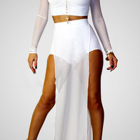 White Long Sleeve Turtleneck Cropped Top and Maxi Skirt