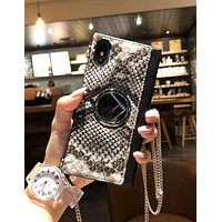 FENDI Popular Women Classic Black White Snakeskin Grain Pattern Hand Catenary Style Mobile Phone Cover Case For iphone 6 6s 6plus 6s-plus 7 7plus iPhone8 iPhone X I12916-1
