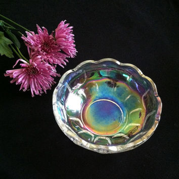 Carnival Glass Candy Dish Rainbow Hued Clear Glass Dish Vintage Scalloped Edge Dish With Square Design Pattern Collectible Home Decor Dining
