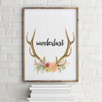 Wanderlust quote Mountain printable Mountain nursery decor Outdoor nursery decor Dorm Room decor Wanderlust Printable INSTANT DOWNLOAD