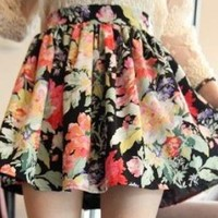 Free Shipping! intage Floral Mini Skirt