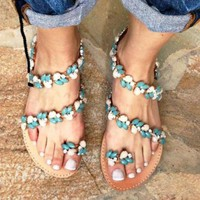 Fashion Selling Handmade Bohemian Flat-soled Sandals Women's Shoes 35-43 Size