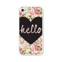 Heart Hello Peach Floral iPhone Case - iPhone 5 Case - iPhone 5 Cover - iPhone 5 Skin - Coral Pink Pastel Flowers iPhone 5 Case