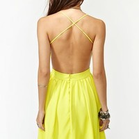 Crossed Chiffon Dress - Yellow