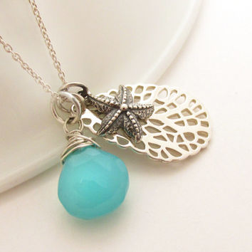 Sterling Silver Starfish Charm Necklace with Sea Fan and Aqua Chalcedony, Beach Resort Jewelry, Ocean and Sea Jewelry, Tropical Vacation