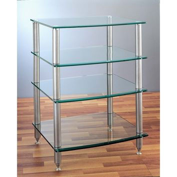 AGR Series 4 Shelf Audio Rack Black Silver Tempered Glass