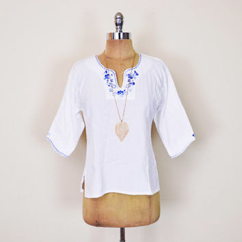 Vintage 70s 80s White Blue Mexican Blouse Mexican Top Mexican Shirt Mexican Tunic Mexican Embroider Blouse Gauze Ethnic Hippie Hippy Boho S