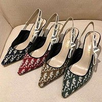 DIOR New Pointed Bowknot Cat Heel Shoes Floral Letter Ribbon High Heel Sandals Women's Shoes
