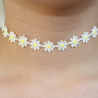 20% OFF SPRING SALE- 90's soft grunge inspired Daisy Choker, in blue, navy, yellow, Navy Dasies, Yellow Daisies, Yellow Daisies