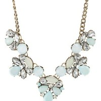 Lt Blue Faceted Stone Statement Necklace by Charlotte Russe