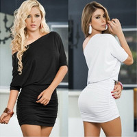 Sexy Women Short Sleeve Bandage Bodycon Pencil Evening Cocktail Party Club Dress [9221262852]