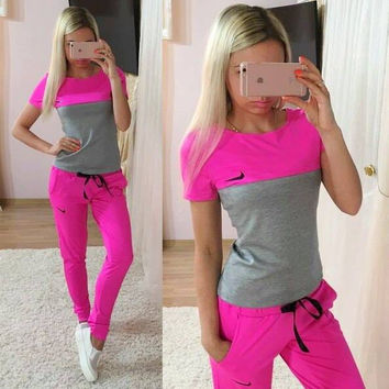 """""""NIKE"""" Fashion Casual Multicolor Print Round Neck Short Sleeve Set Two-Piece Sportswear"""
