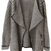 ROMWE | ROMWE Wave Striped Contrast Trimming Black Cardigan, The Latest Street Fashion