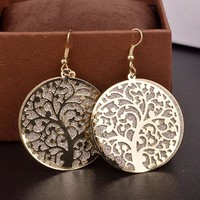 Round Life Tree Hollow Out Scrub Earrings for Women