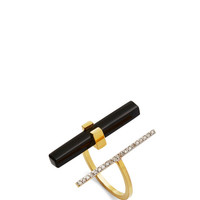 14K Yellow Gold Onyx And Diamond Parallel Bar Ring by Mateo - Moda Operandi