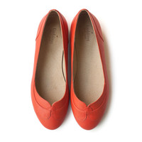 New! Pumpkin-red Joy Flats, Handmade Leather shoes, Women red-orange shoes, spring shoes, free shiping