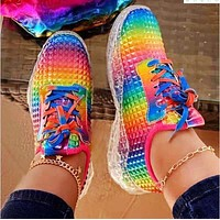New sports shoes light trend running shoes rainbow vamp Transparent soles