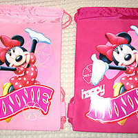 2 MINNIE MOUSE DIFFERENT PINK DRAWSTRING BAG BACKPACK TRAVEL STRING POUCHES-NEW