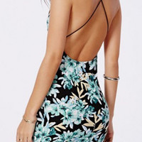 Green Floral Halter Cross Straps Mini Dress