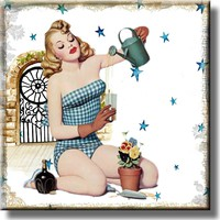 Vintage Gardening Pin Up Girl Picture on Stretched Canvas, Wall Art Décor, Ready to Hang