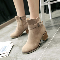 plus size 34-43 Autumn Winter Women Boots Solid European Ladies shoes Martin boots Suede Leather ankle boots with thick scrub