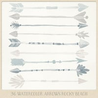Watercolor clipart arrows tribal (36 pc) beige and gray - ish blue natural. hand painted for logo design, blogs, cards, printables wall art