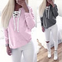 Autumn Clothing Lace Up Sweatshirt Women Tops Pleated Long Sleeve Pink Cotton V Neck Winter Sweatshirt Warm Hoodies Girl [8833518860]