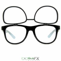 GloFX Flip Up Spiral + Diffraction Glasses- Black