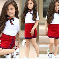 Pudcoco Girls Uniform born Kid Baby Girls Clothes Sets Bow Flower Tie Tops T-shirt Short Mini Skirt Party Wedding Tutu Dress