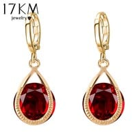 17KM  Long Crystal Water Drop Earrings Brincos Boucle Oreille Gold Color And Silver Color Earrings For Women Accessories