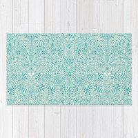 Detailed Floral Pattern in Teal and Cream Rug by Micklyn