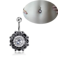 Titanium Vintage Floral Diamonds Navel Rings Accessory Hot Sale Belly Ring [6768826311]
