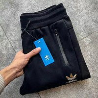 """Adidas"" Women Men Autumn Winter Fashion Print Thick Sport Stretch Pants Trousers Sweatpants Gym Jogging Exercise Casual Sportswear Black I-MG-FSSH"