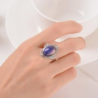 Vintage Retro Color Change Mood Ring Oval Emotion Feeling Changeable Ring Temperature Control Color Rings For Women