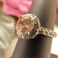 Light Peach Color Sterling Silver CZ Round Stone Engagement Ring