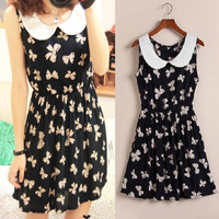 Women Peter Pan Collar Bowknot Vest Fashion Dress Sundress Sleeveless Excellent