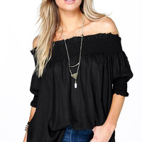 Black Off Shoulder Loose Chiffon Blouse