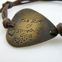 Custom Guitar Pick Bracelet, Hand Stamped, Friend Gift , bracelet with your saying