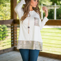 Shimmer And Mine Top, Ivory