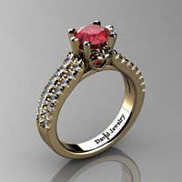 Classic 14K Yellow Gold 1.0 Ct Ruby Diamond Solitaire Engagement Ring R1027-14KYGDR