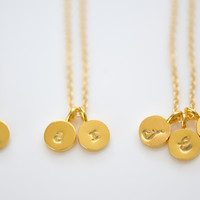 Dainty Tiny Gold Vermeil Initial Necklace, Personalize Initial Necklace