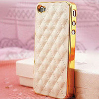 For Iphone 5 5s 4 4s Luxury Gold PU Leather Case Aluminum Metal Frame Sheep Grid Pattern Lattice Back Skin Cover For iphone5s 4s