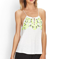 FOREVER 21 Embroidered Peasant-Style Cami Cream/Multi